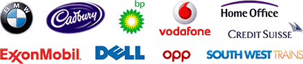 The Home Office, BP Oil, Dell Computers, Credit Suisse First Bank, Exxon Oil, Vodafone, Cadburys, OPP, BMW and South West Trains